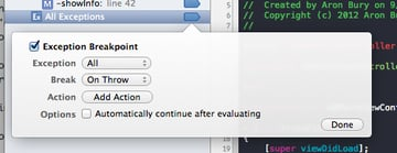 Exception breakpoint