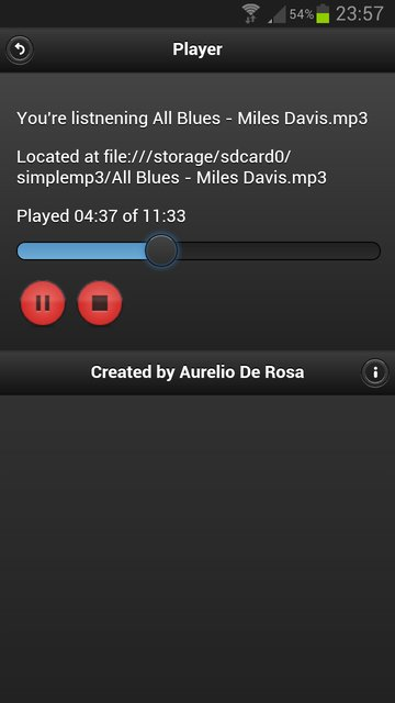 The Application player interface