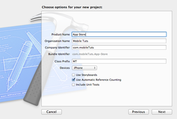New in iOS 6: SKStoreProductViewController: Configuring the New Project - Figure 2