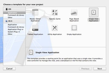 Previewing and Opening Documents with UIDocumentInteractionController: Choosing a Project Template - Figure 1