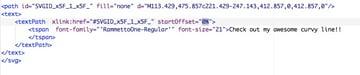 screenshot: highlighting startOffset code