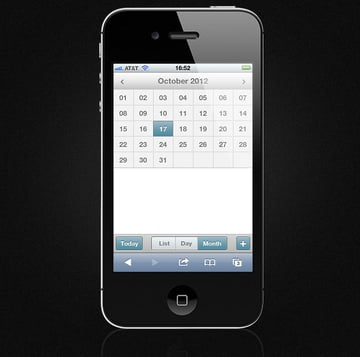 Mobile Event Calendar - Month View