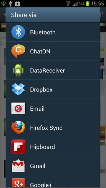 The App in the Browser Share List