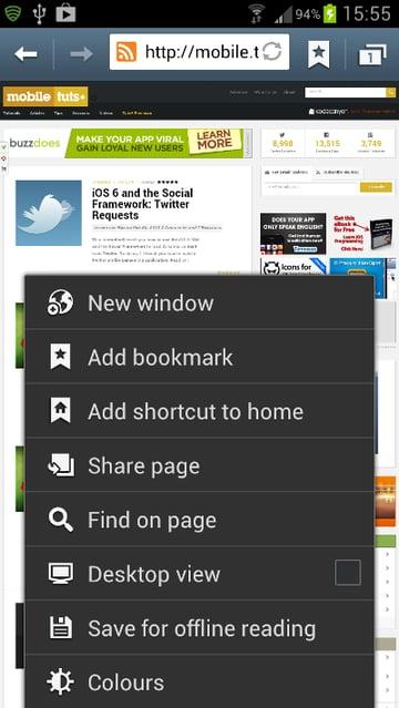 The Browser Menu