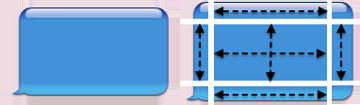 A callout (left), deconstructed to show how the image might be resized sensibly (right)