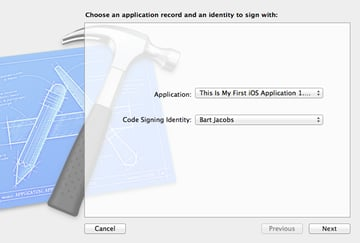How To Submit an iOS App to the App Store - Select Application and Code Signing Identity