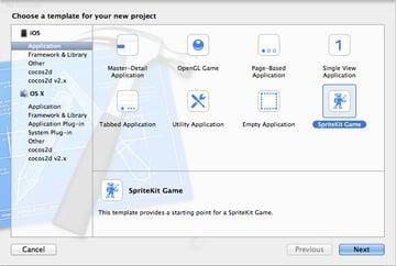 Figure 2 Choosing SpriteKit Game template