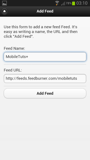 The page to create a new feed