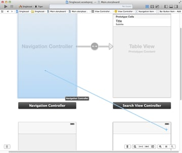 Create a segue from the view controller to the search view controller's navigation controller.
