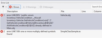 The result of leaving the inline keywordbr off of the VehicleGetVehicleCondition member function