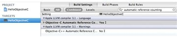 Figure 24 Enabling Automatic Reference Counting in the projects build settings