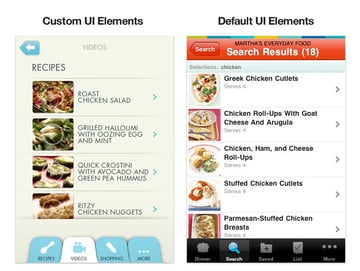 custom designed app vs. templated app