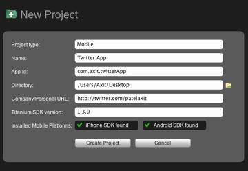 Appcelerator: Create a New Project