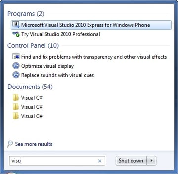 Searching for Visual Studio 2010 Windows Phone 7 Development