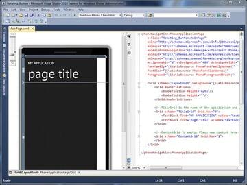 The MainPagexaml file open in DesignCode Mode Windows Phone 7 Development