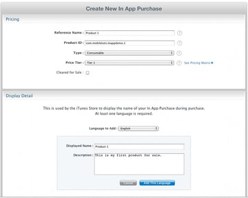 Creating new in app purchase form.