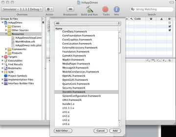 In App Purchases Adding the Store Kit Framework.