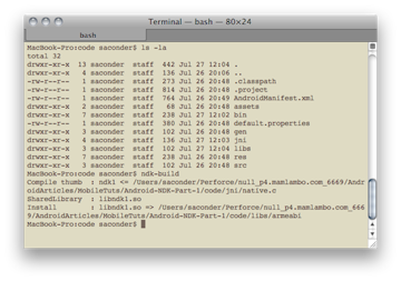 Fig 1: Typical build output from the ndk-build command