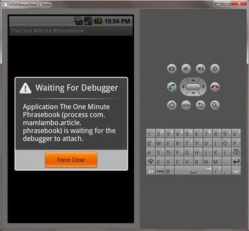 Android Debugging Screen.