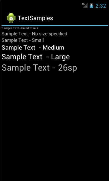 TextView Controls with Various Text Sizes, User Preference for Normal Font Size<br />