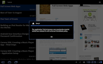 Screen showing TutList with StrictMode violation