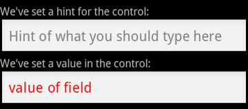 EditText controls with hint and value attributes