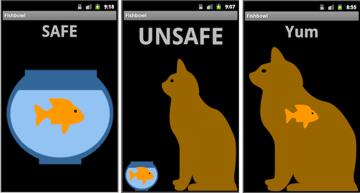 Three screens of the Fishbowl App