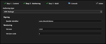 Shiva Authoring Tool Step 2 - APK Package