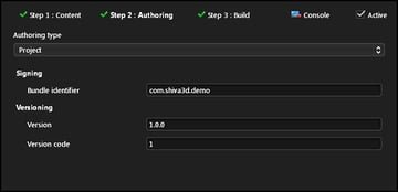 Shiva Authoring Tool Step 2 - Project