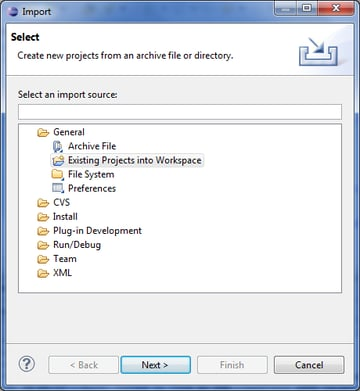 Project Import Dialog