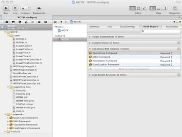 Linking against the QuartzCore Framework in Xcode