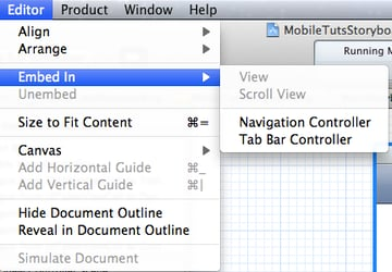 Menu to Embed View Controller In Navigation Controller and Tab Bar Controller
