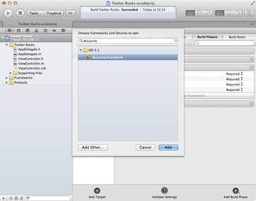 iOS 5 and The Twitter Framework: Adding The Twitter and Accounts Frameworks - Figure 4