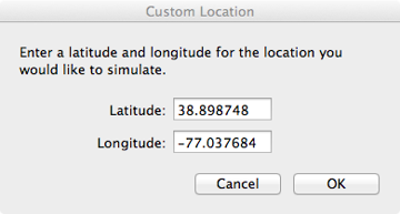 Setting Simulator Location