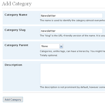 Adding a category in Wordpress
