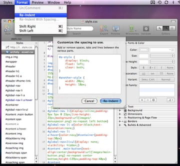 Re-indent - built in compression tool!