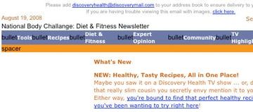 Screenshot from Discovery Health showcasing a cluttered looking email.