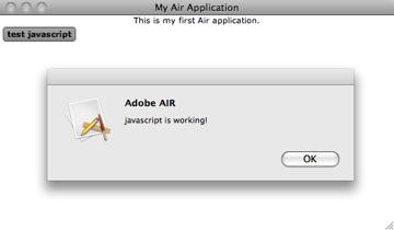Javascript runnning on Air application