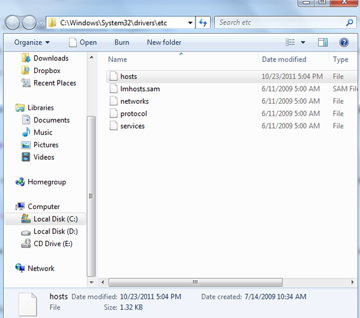 Hosts file location