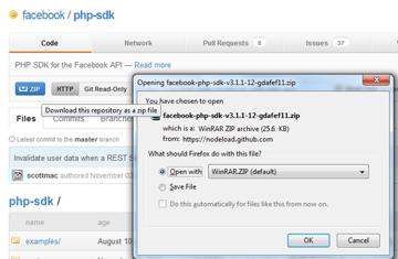 Downloading Facebooks PHP SDK