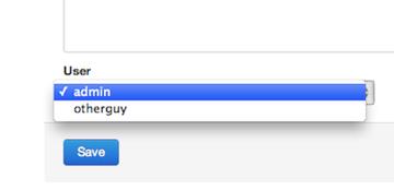User dropdown form