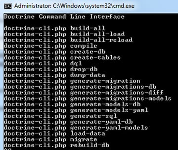 Expected Doctrine CLI output