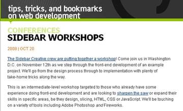 Sidebar Workshops