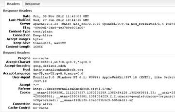 viewing HAR data headers