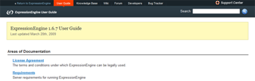 The ExpressionEngine Docs homepage