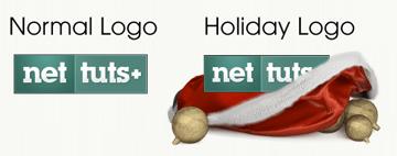 Normal Logo becomes Holiday Logo
