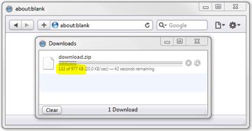 download progress message