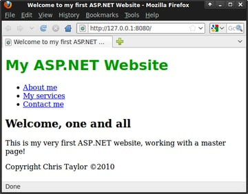 An ASP.NET master page and content page with multiple content placeholders
