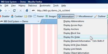 web developer toolbar's display div order command chosen