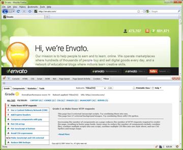 Yahoo! YSlow's Grade View